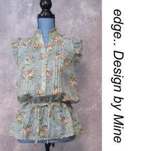 NWOT Edge Design by Mine Floral Sheer Blouse S